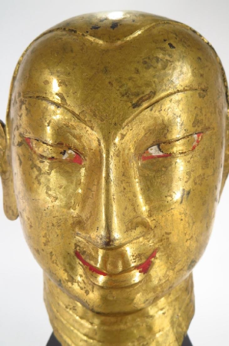 Tibetan Gilt Copper Alloy Head of Lama, 15-16th C. - 5