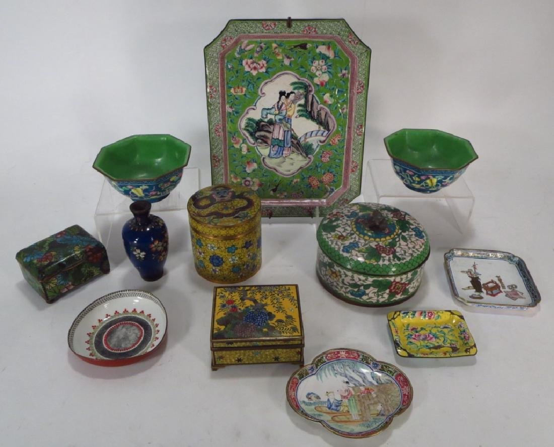 12 Asian Cloisonne & Peking Enamel Objects