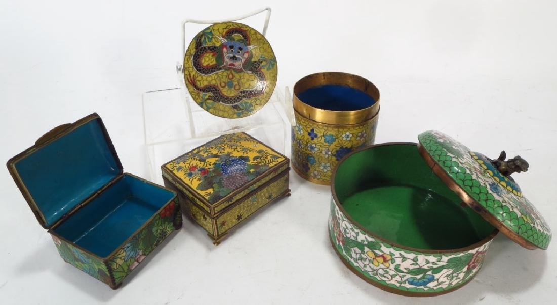 12 Asian Cloisonne & Peking Enamel Objects - 4