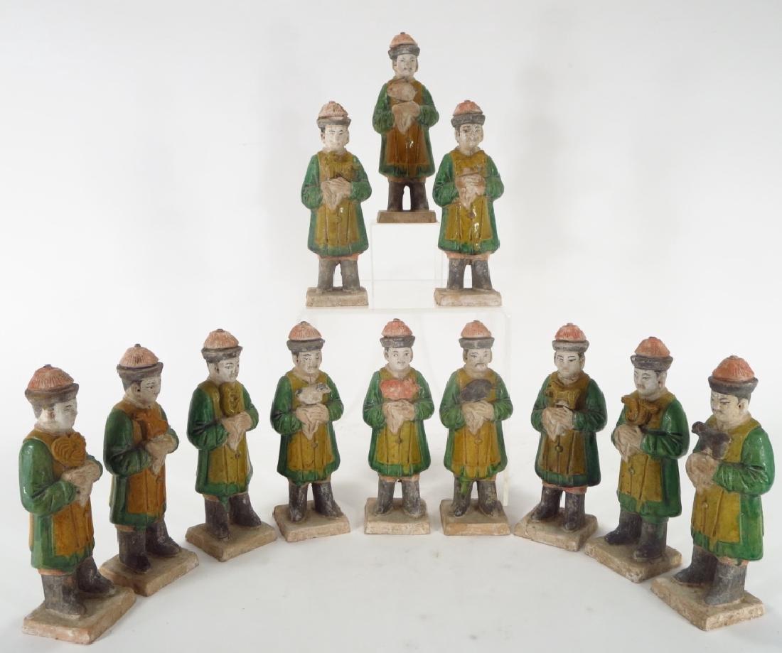 Twelve Chinese Pottery Attendants, Ming Dyn.