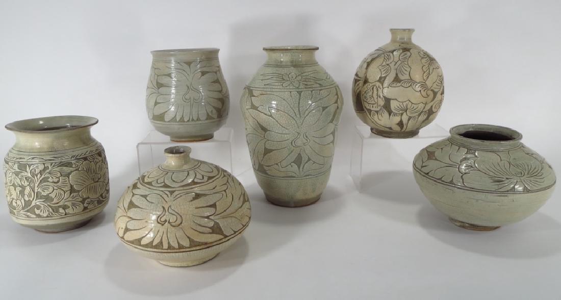 4 Korean Buncheong Vases/Bowls