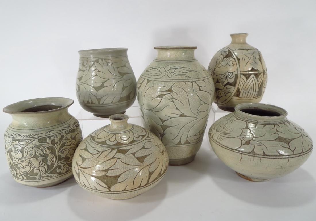 4 Korean Buncheong Vases/Bowls - 2