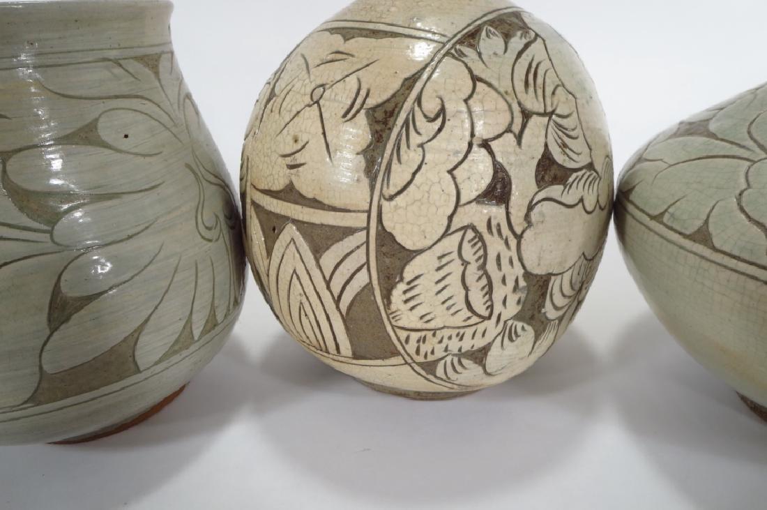 4 Korean Buncheong Vases/Bowls - 3