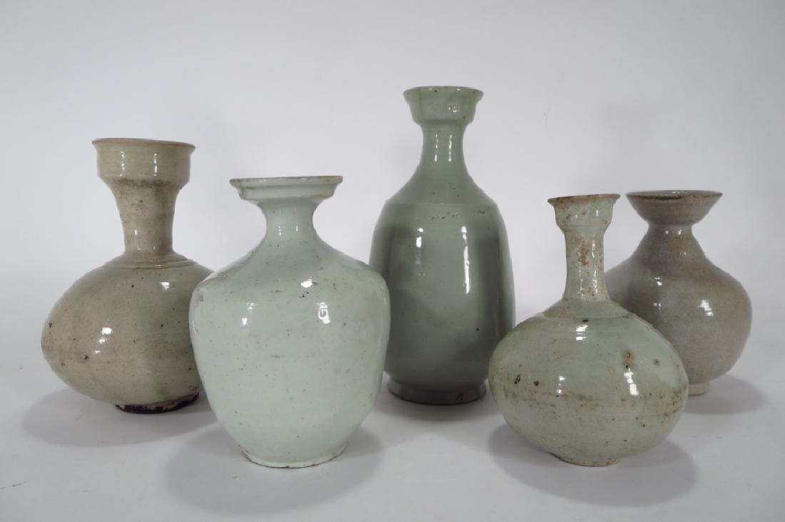 5 Korean Stoneware Wine/Oil Bottles,c.13-18th C.