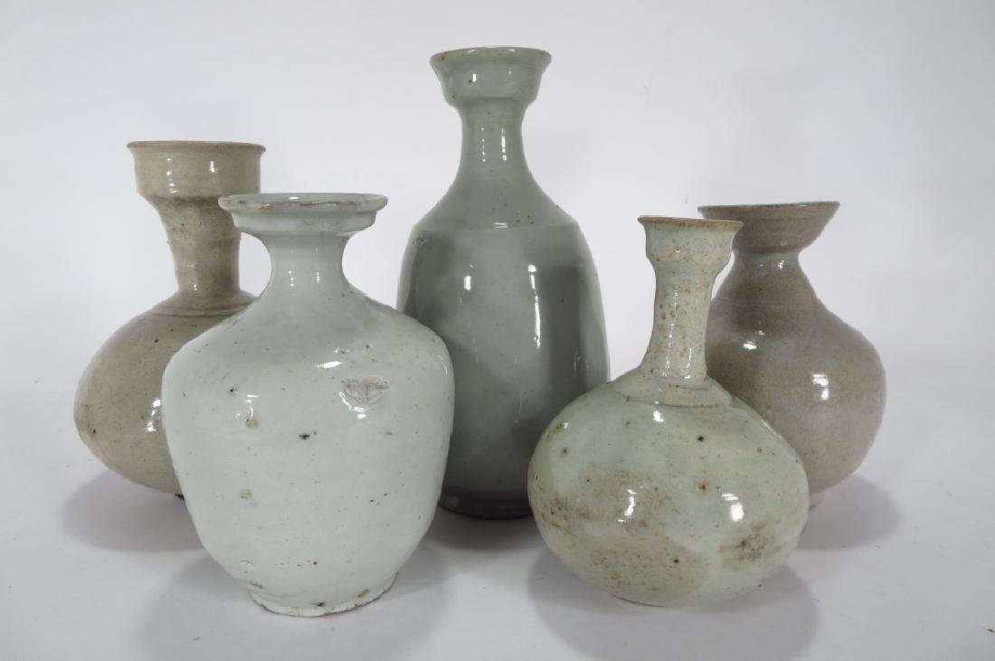 5 Korean Stoneware Wine/Oil Bottles,c.13-18th C. - 2