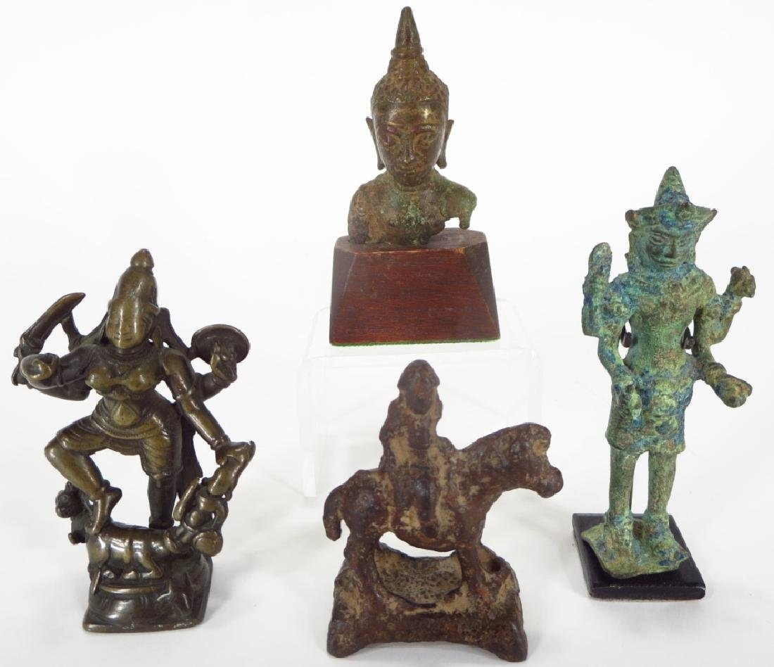 Group of Four Asian Bronze and Iron Figures