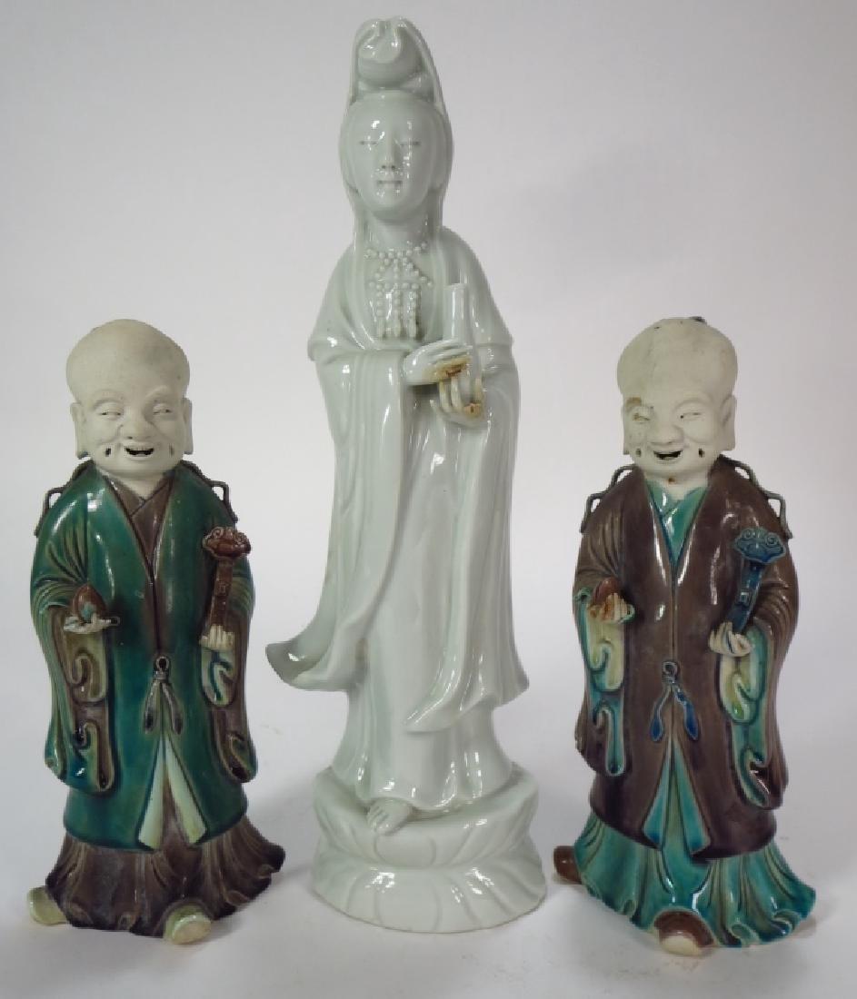 Pair of Glaze Ceramic Chinese Sages, 19th C.,et al