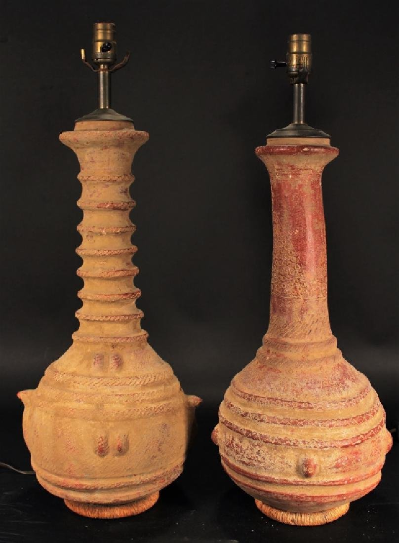 Pair of African Pottery Vases as Lamps c.1920
