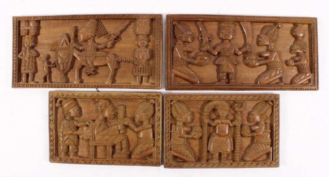 4 African Wood Panels w Battle and Court Scenes