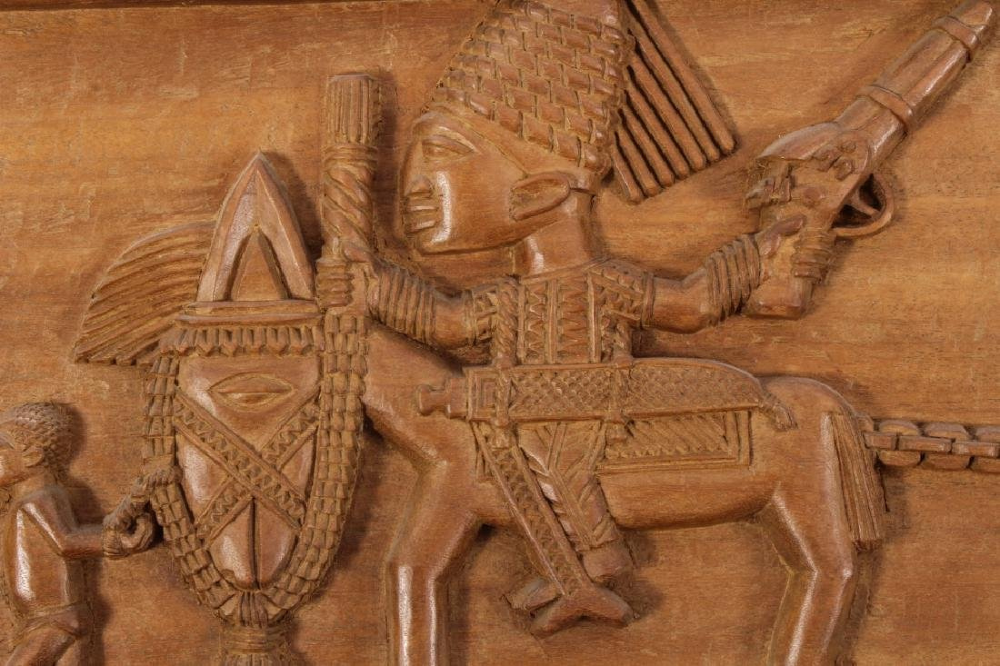 4 African Wood Panels w Battle and Court Scenes - 2