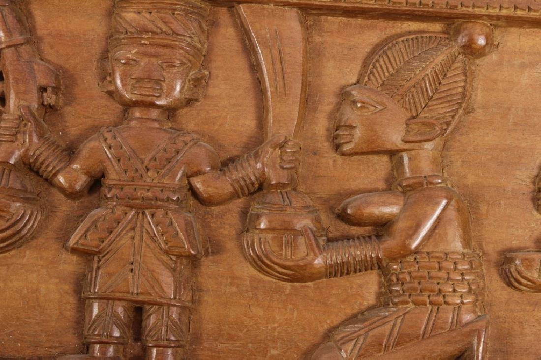 4 African Wood Panels w Battle and Court Scenes - 4