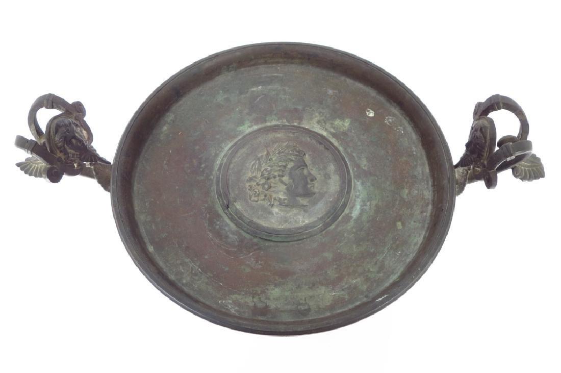 Neoclassical Tazza, Brass on Stone Base - 4