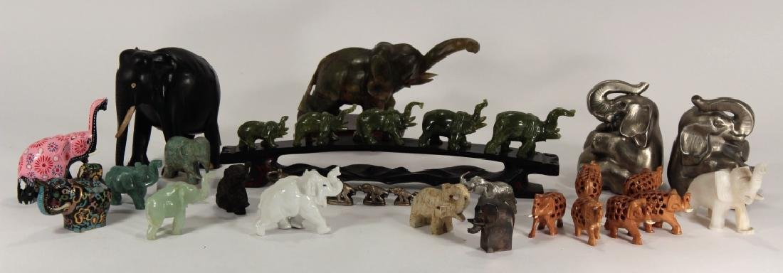 Collection of 30 Elephants, Various Materials