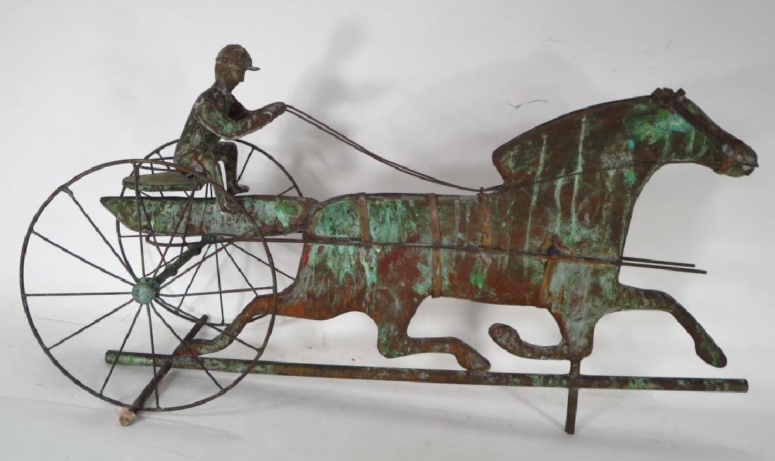 Copper Horse & Sulky Weathervane Sculpture, 20th C