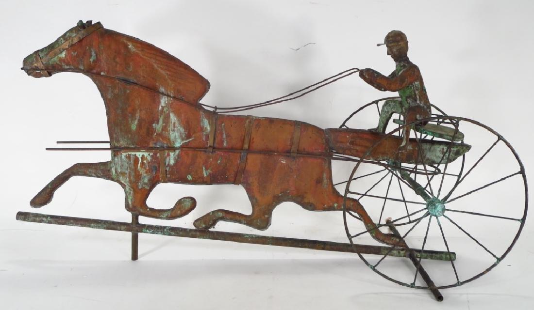 Copper Horse & Sulky Weathervane Sculpture, 20th C - 2