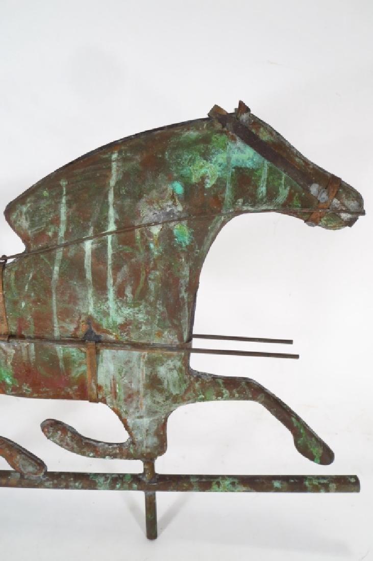 Copper Horse & Sulky Weathervane Sculpture, 20th C - 4