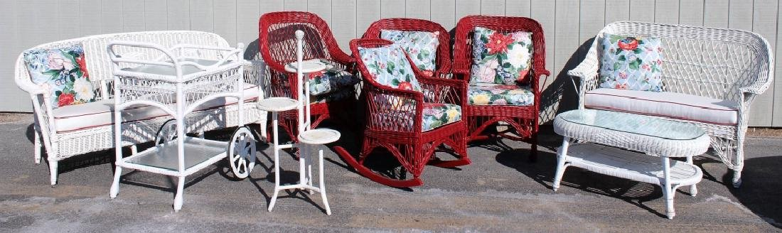 Group of Painted Wicker Garden Furniture, 20th C.
