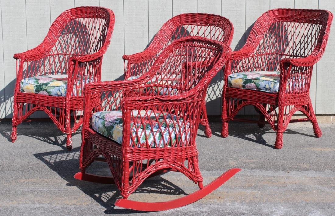 Group of Painted Wicker Garden Furniture, 20th C. - 2