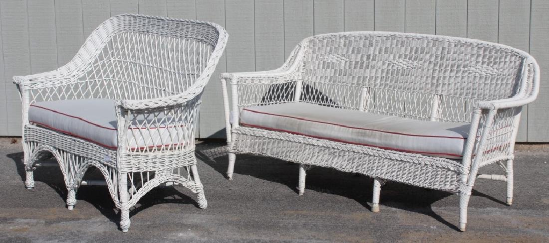 Group of Painted Wicker Garden Furniture, 20th C. - 3