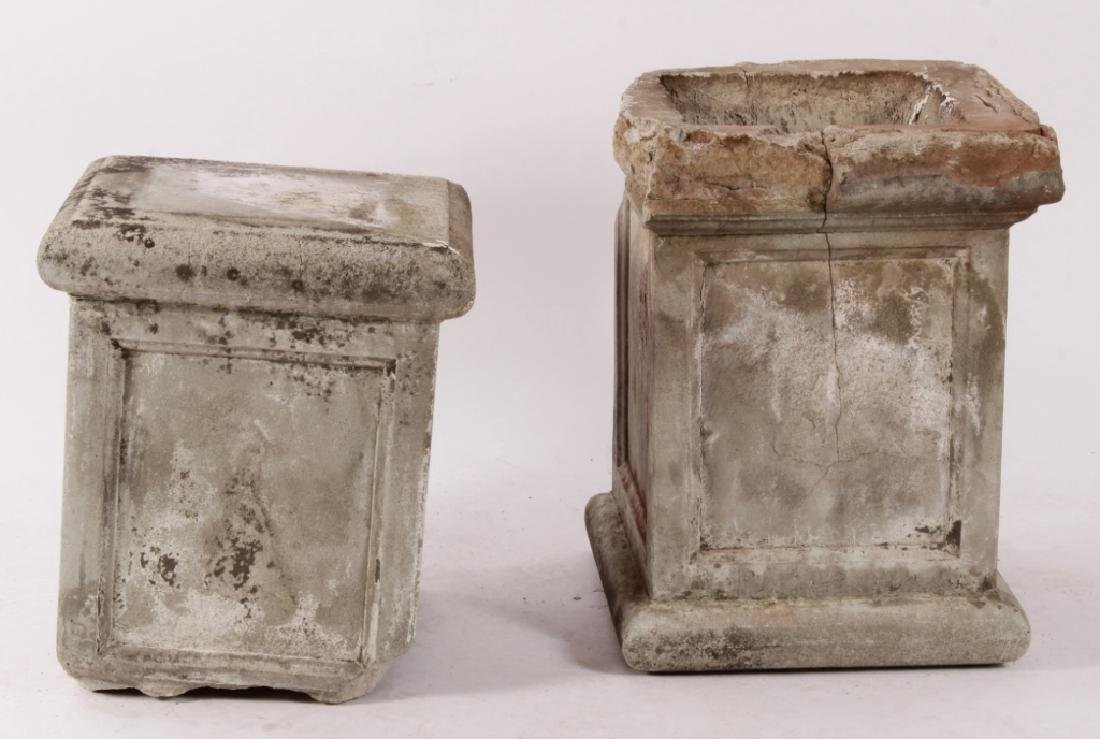 Pair Concrete Classical Garden Maidens on Plinths - 10