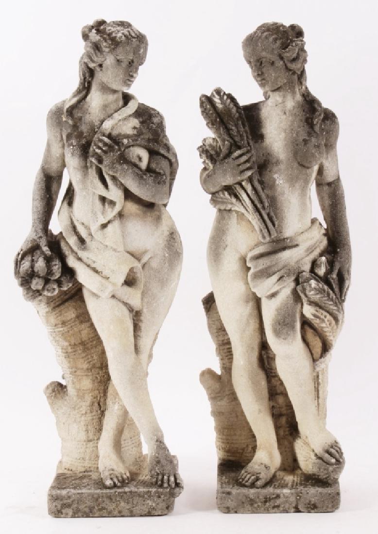 Pair Concrete Classical Garden Maidens on Plinths