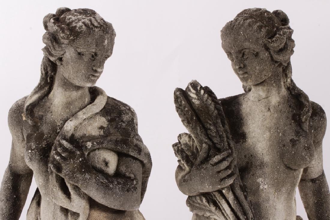 Pair Concrete Classical Garden Maidens on Plinths - 2