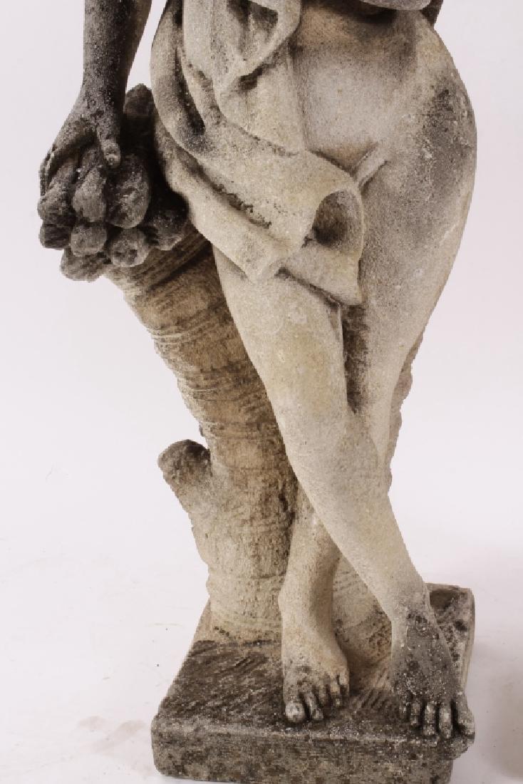 Pair Concrete Classical Garden Maidens on Plinths - 3