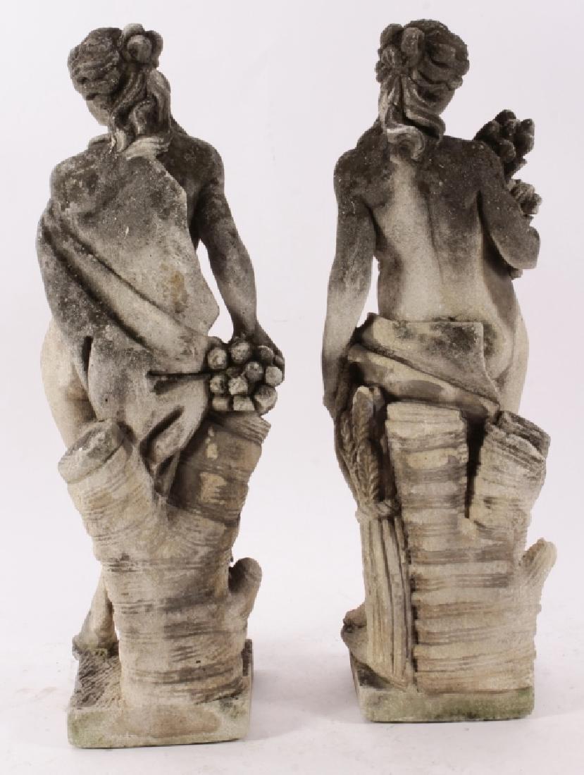 Pair Concrete Classical Garden Maidens on Plinths - 7
