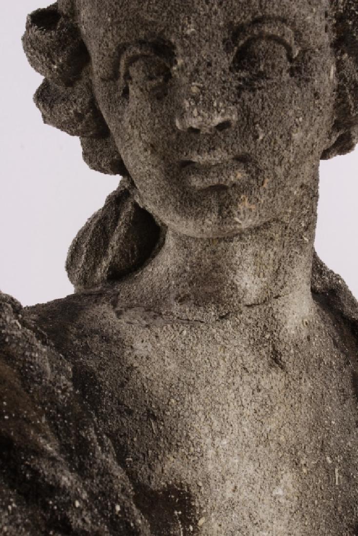 Pair Concrete Classical Garden Maidens on Plinths - 9