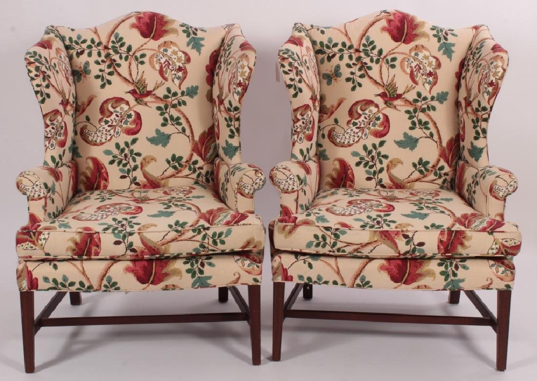 Pair of Baker Wing Chairs with Floral Print Fabric