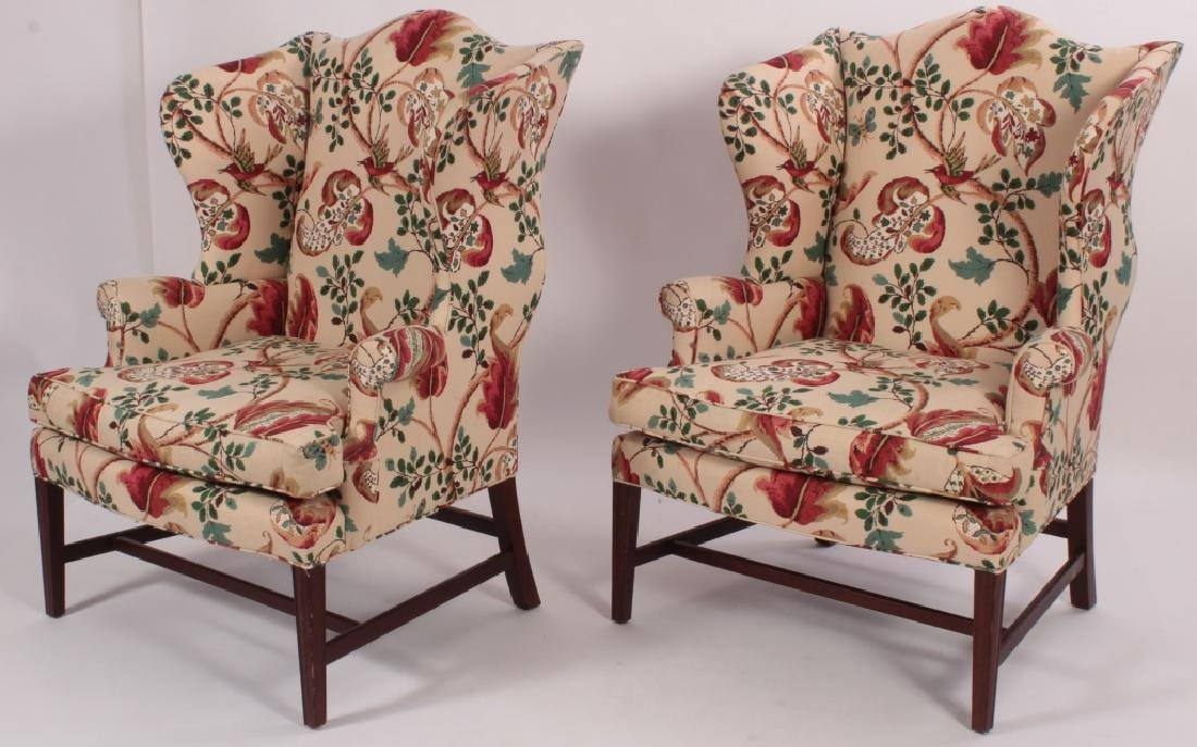 Pair of Baker Wing Chairs with Floral Print Fabric - 2