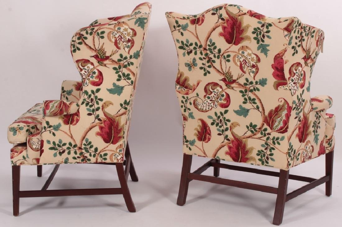 Pair of Baker Wing Chairs with Floral Print Fabric - 3
