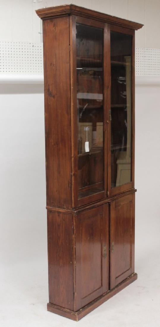 Umbrian Tall Cabinet, 19th C., Italy, Glass Doors