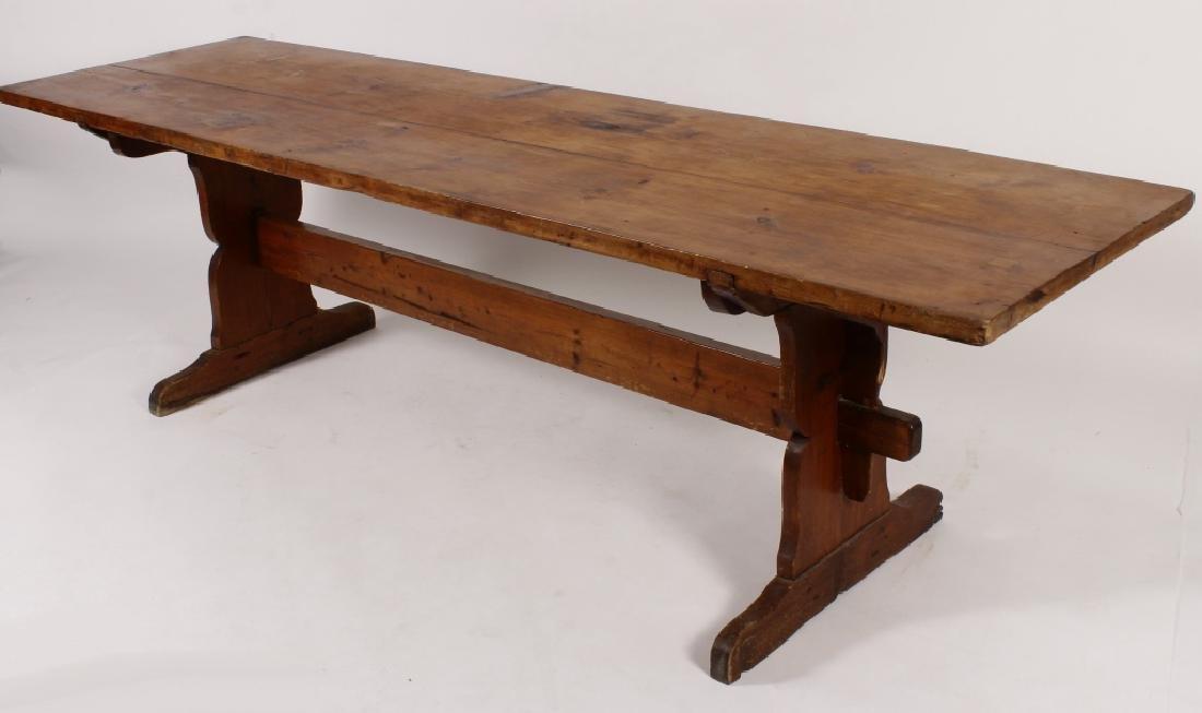 Pine Harvest Table on Trestle Base, 19th C. - 2