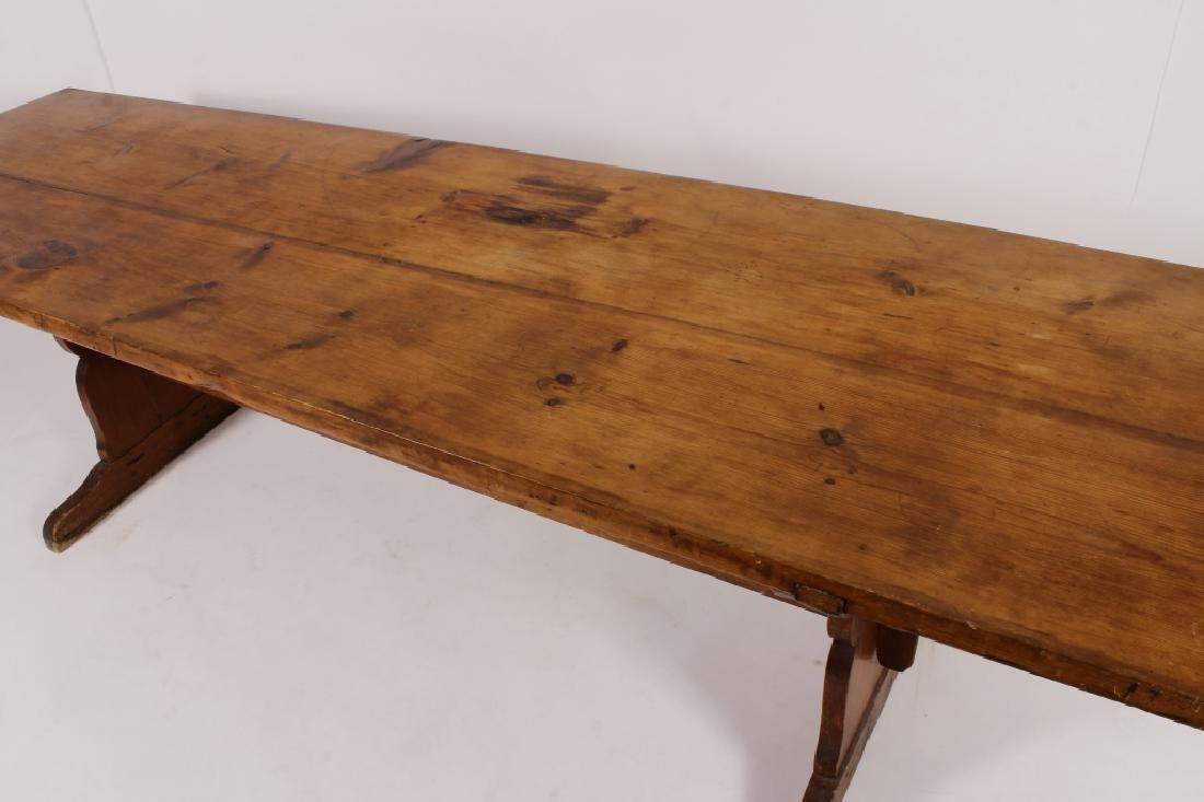 Pine Harvest Table on Trestle Base, 19th C. - 3