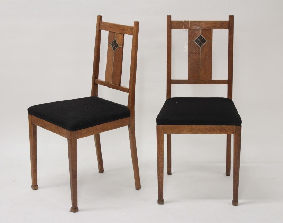 Pair of Arts & Crafts Oak Side Chairs w Inlay