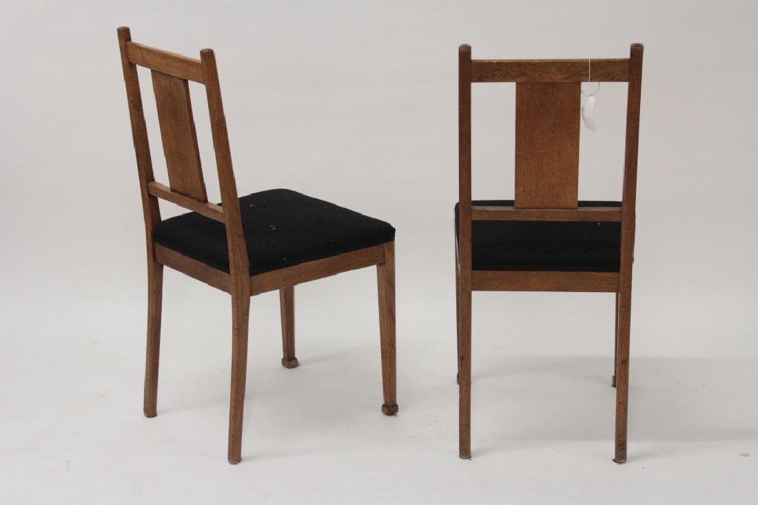 Pair of Arts & Crafts Oak Side Chairs w Inlay - 2