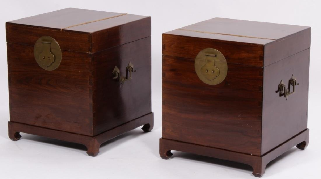 Pr. of Asian Hardwood Storage Chests on Stand