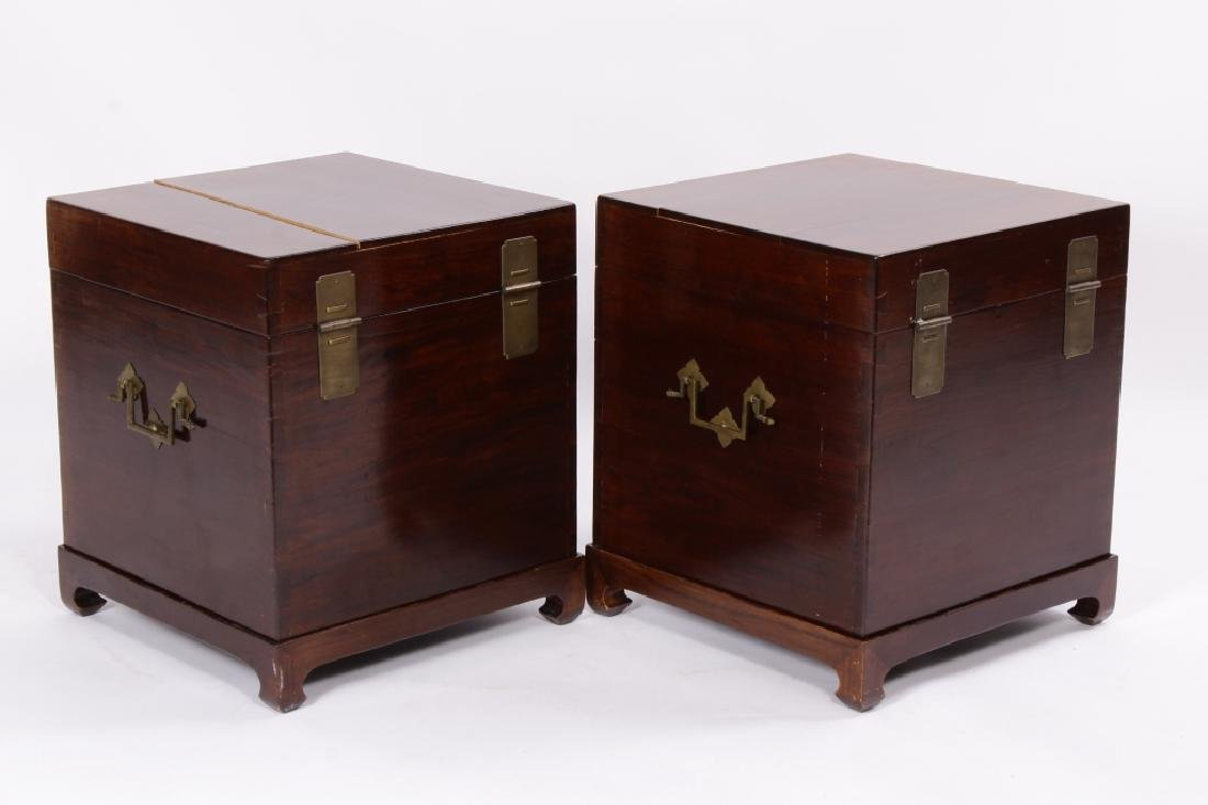 Pr. of Asian Hardwood Storage Chests on Stand - 5