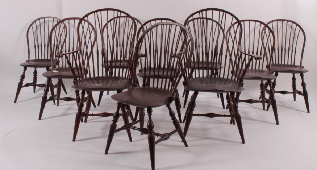Set of 10  Windsor Dining Chairs, Signed PM 1985.
