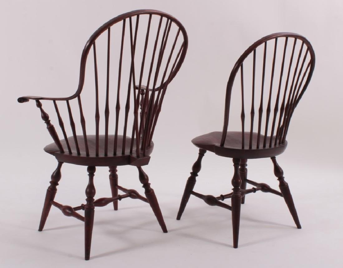 Set of 10  Windsor Dining Chairs, Signed PM 1985. - 4
