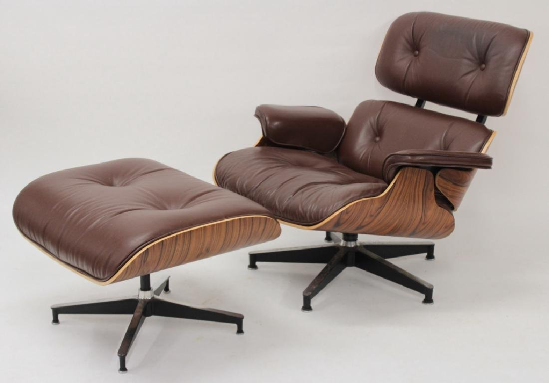 Herman Miller, Eames Chair and Ottoman, Leather.
