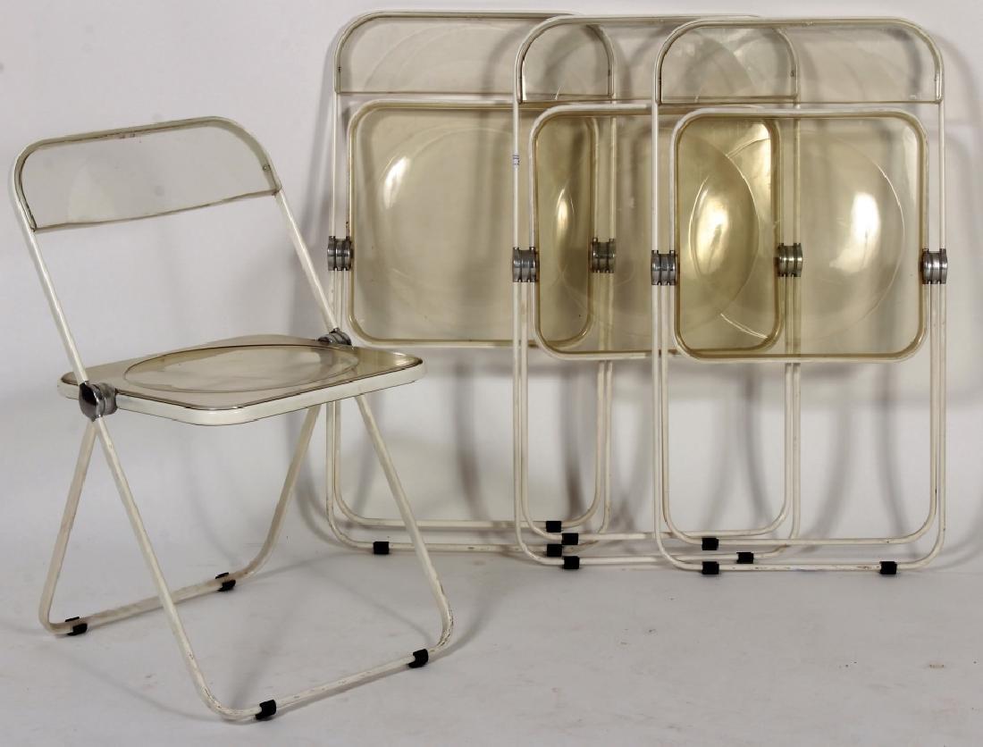 Set of 4 Mid-Century Acrylic Folding Chairs