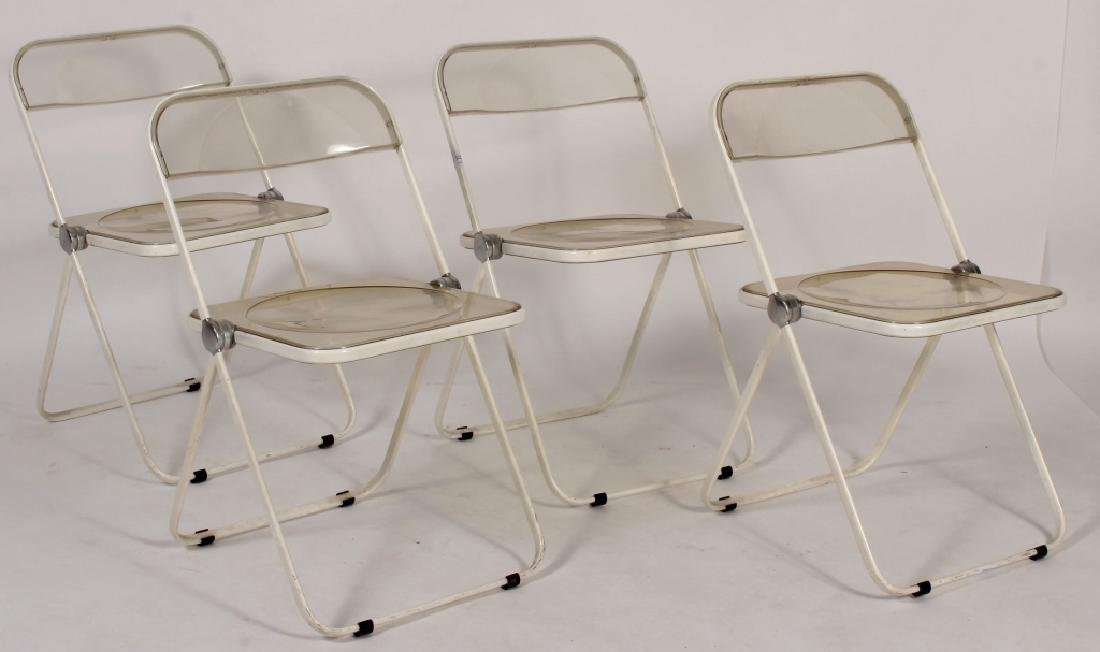 Set of 4 Mid-Century Acrylic Folding Chairs - 2