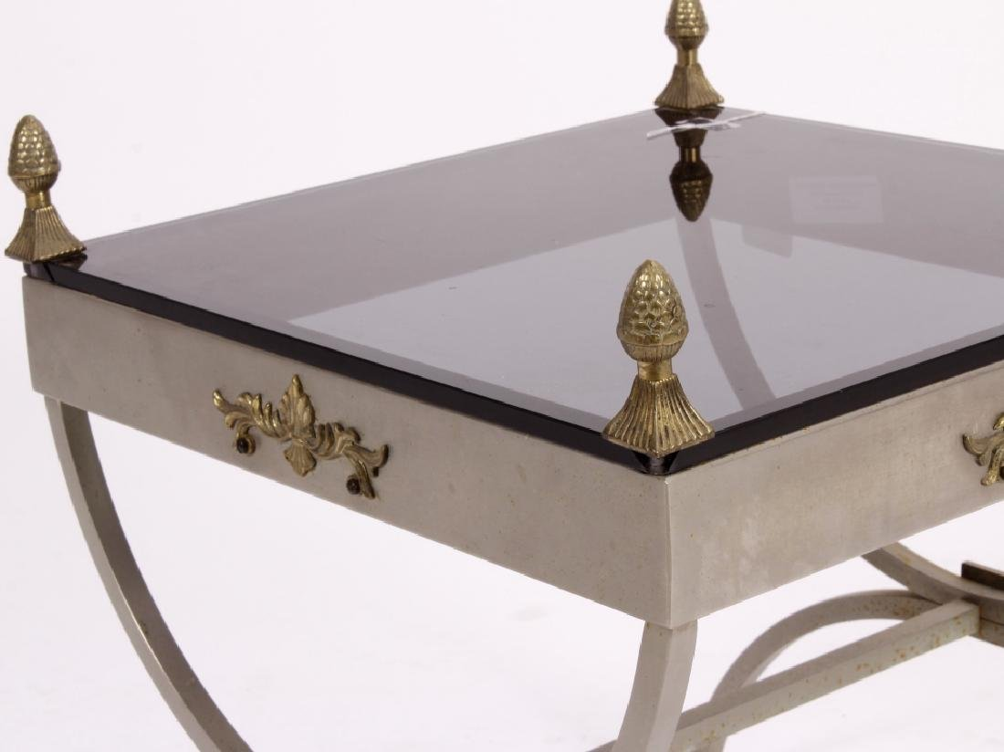 Neoclassical Style Metal and Glass Table - 2