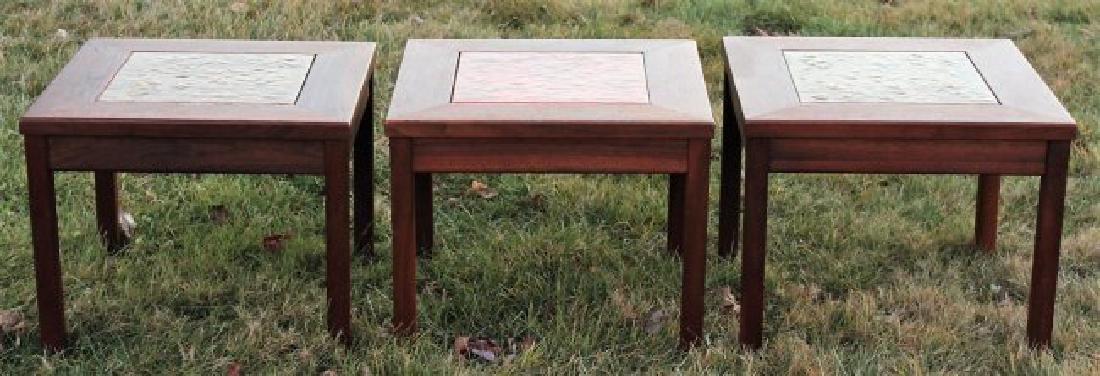 Brown Saltman Midcentury: 3 Walnut & Tile Tables - 2