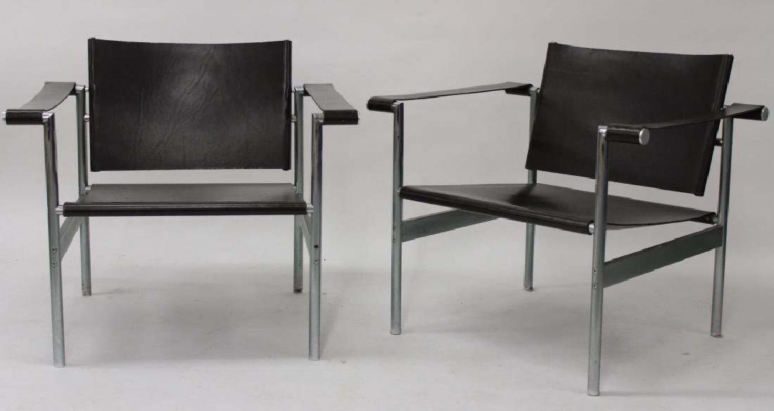 After Le Corbusier, Pair of Steel/Leather Chairs