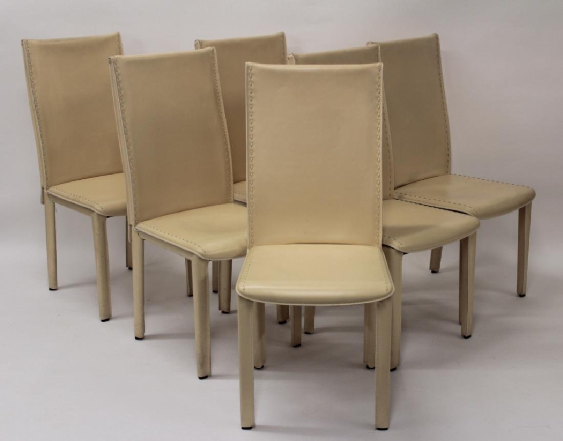 Roche Bobois Cream Leather Dining Chairs