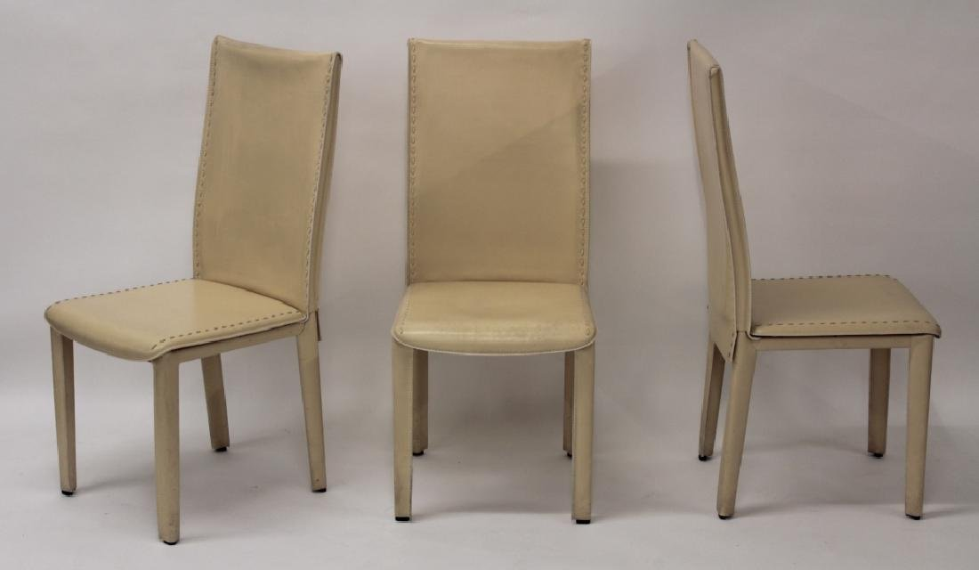Roche Bobois Cream Leather Dining Chairs - 2