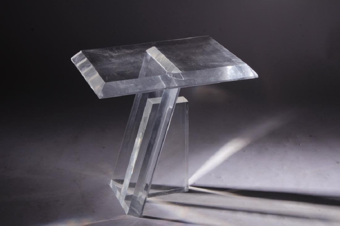 Midcentury Plexiglass Side Table, Asymmetric Base